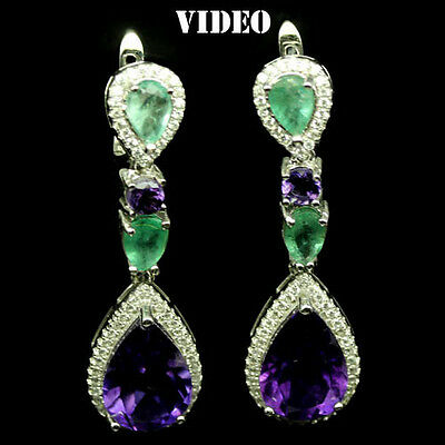 55 CTS! SUPERIOR!! NATURAL PURPLE AMETHYST- BRAZILIAN EMERALD 925 SILVER EARRING