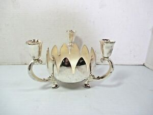 Vtg Silverplate Fb Rogers 3 Arm Candle Holder Lotus Flower Bowl