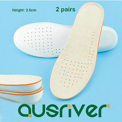 2 Pairs Shoes Insoles Height Increase Air Cushion 2.5CM Heel Lifts Soft Cosy