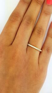 0-25-ct-Round-Diamond-Wedding-Band-Engagement-Ring-14k-kt-Yellow-Gold-Stackable