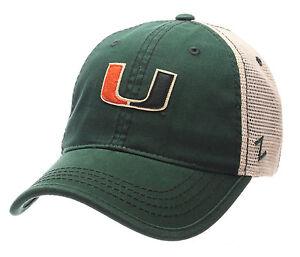 MIAMI-HURRICANES-THE-034-U-034-NCAA-MESH-SLOUCH-TRUCKER-SNAPBACK-Z-WASHED-CAP-HAT-NWT