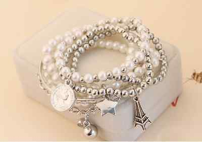 Fashion Jewelry Womens Unique Gold Metal Pearl Multilayer Pendant Bracelet
