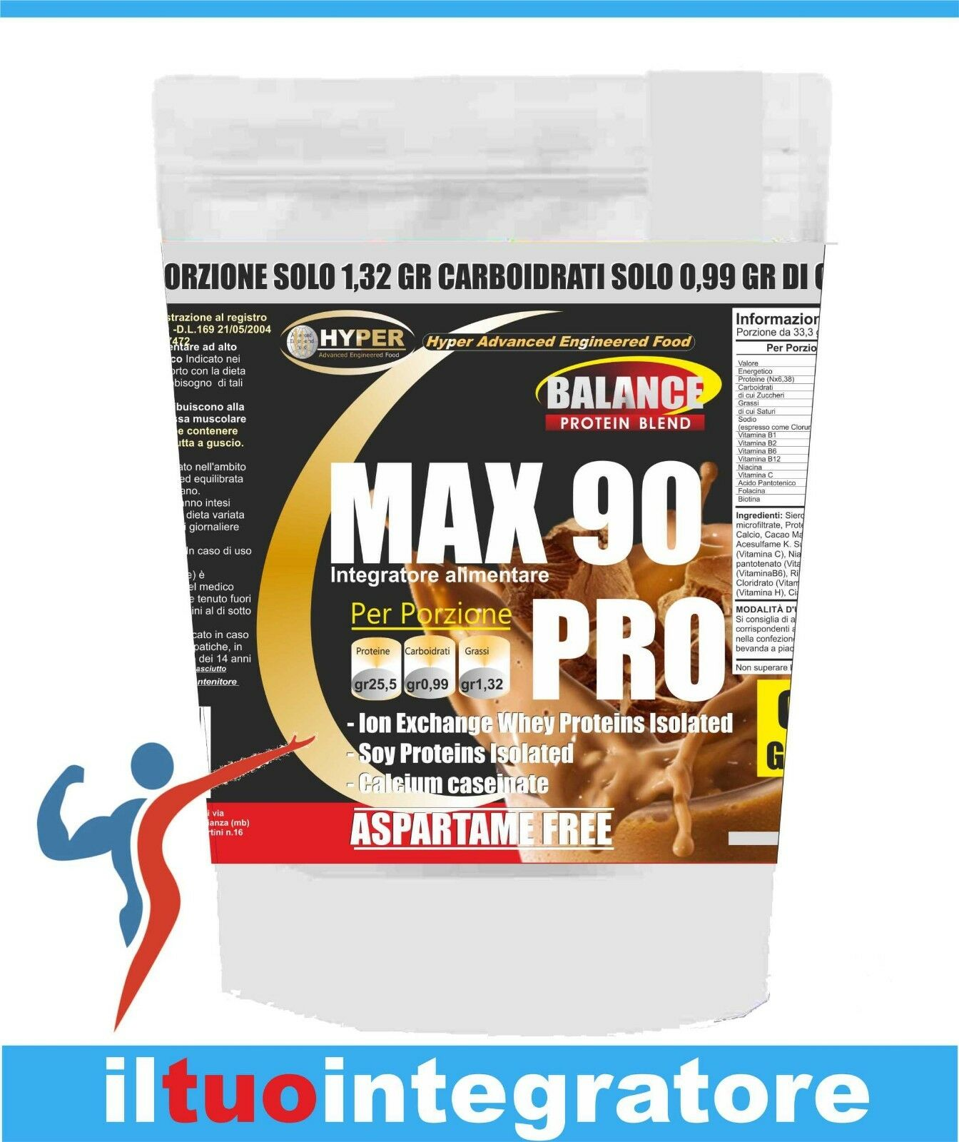 Proteine Max 90% Pro 3 Fonti Gr  Lento Rilascio Gr Fonti 3000  gusto Cacao Bodybuilding a84429