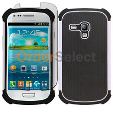 Hybrid Rugged Rubber Matte Case+Screen Guard for Samsung Galaxy S3 Mini White