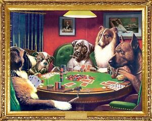 CASSIUS-COOLIDGE-DOGS-PLAYING-POKER-16x20-FINE-ART-POSTER-NEW-ROLLED