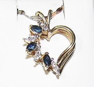 14k open heart sapphire diamond pendant estate sale clearance image is loading 14k open heart sapphire diamond pendant estate sale aloadofball Images