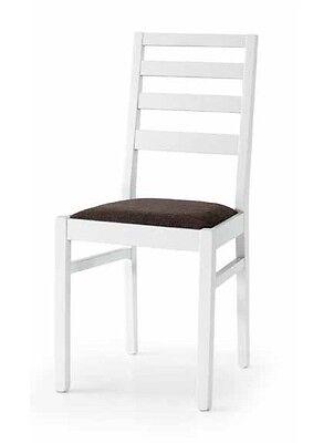 SEDIA in Legno Massello colore Bianco Seduta in Tessuto Marrone Lotto 2 sedie | eBay
