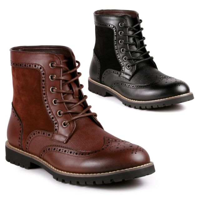 Metrocharm MC002 Mens Lace Up Wing Tip Formal Dress Casual Fashion Boots
