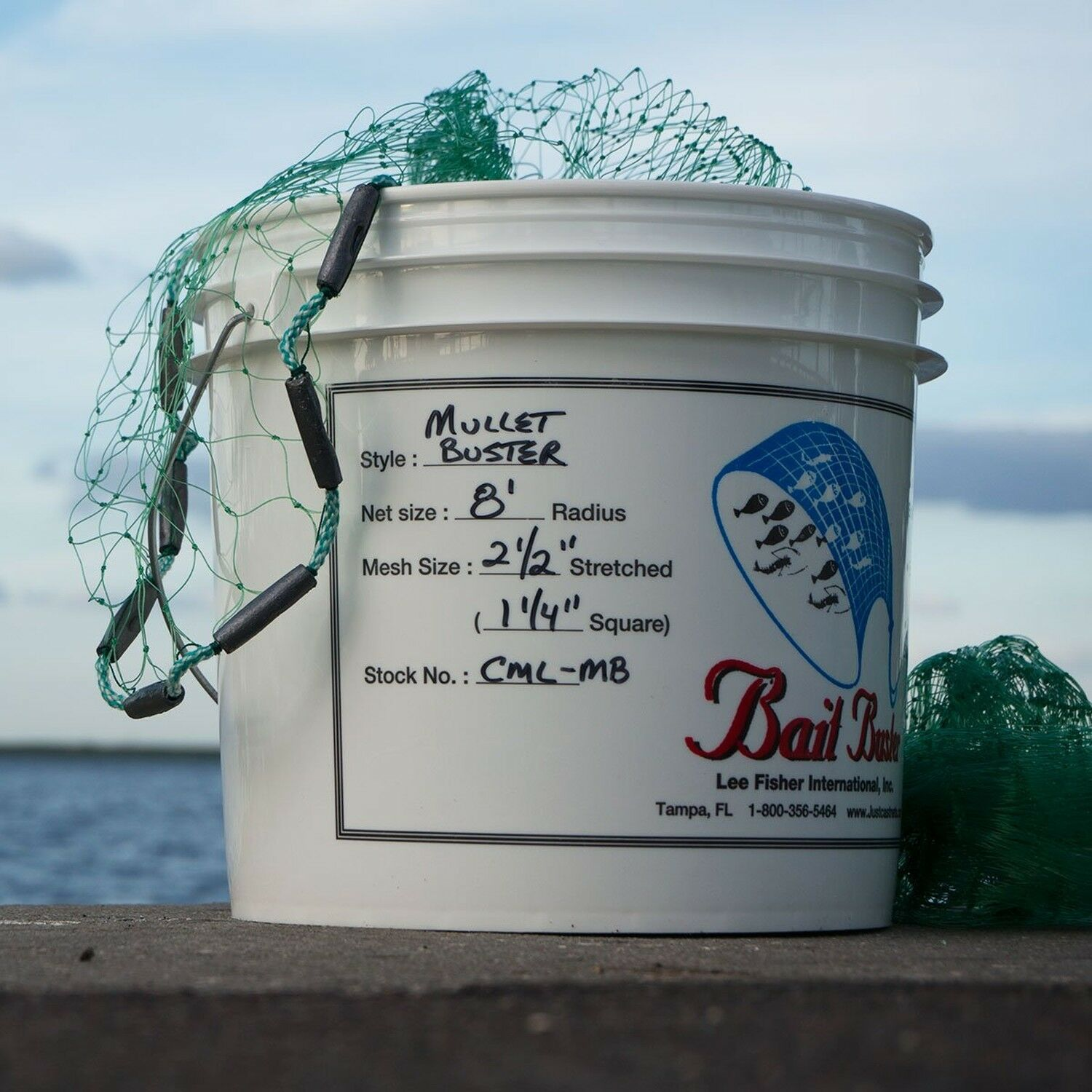 Bait Buster Mullet Cast Net with 1-1 4  Squared Mesh - 8 Foot Radius