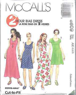 8809 UNCUT Vintage McCalls Pattern Misses Bias Dress 2 Hour SEWING OOP Summer