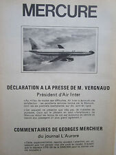 6/1975 PUB AVIONS MARCEL DASSAULT MERCURE AIRLINER AIR INTER CFM 56 FRENCH AD