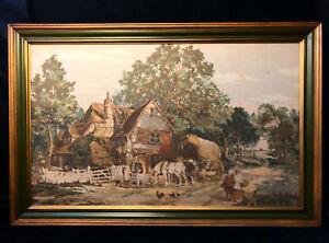 """Vintage Framed Tapestry Gilded Frame 51.5""""x33.5"""" Victorian Cottage Farm Scene"""