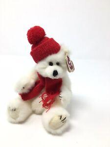 "1993 Ty PEPPERMINT the POLAR BEAR 9"" Attic Treasures Jointed Plush Christmas"