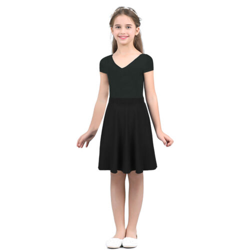 Kid Girls Solid Color Skirt School Casual Child Stretchy Summer Daily Party Wear