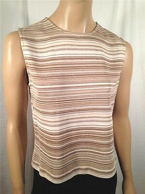NWOT St. John Ivory Tan Cream Ecru Brown Striped Sleeveless Sweater - Size M
