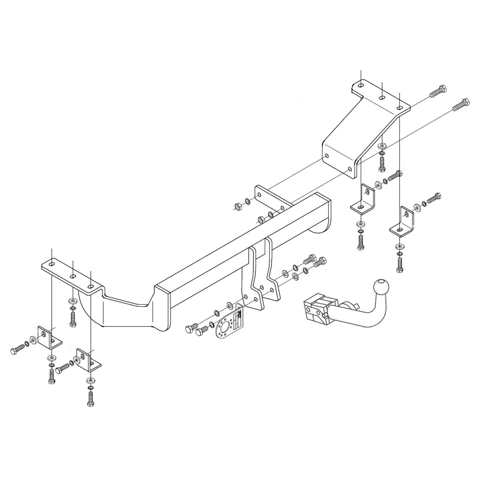 Fixed Swan Neck Towbar for CITROEN C-CROSSER 2007-2013