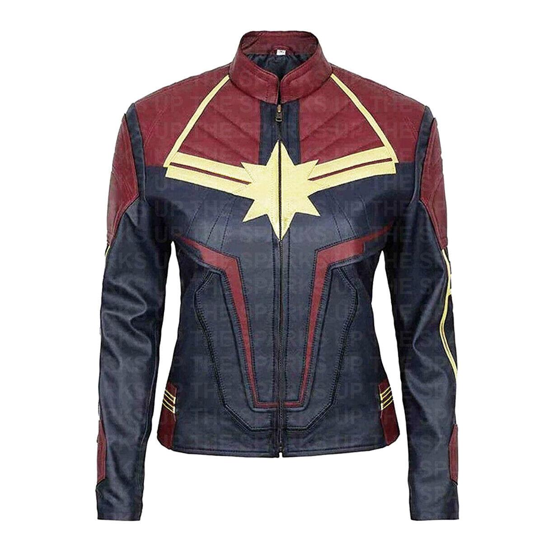 nouveau Captain Marvel Trendy Costume Vers voitureol Danvers cuir veste - BIG SALE