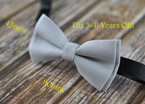 Boy Kids Baby 100/% Cotton SILVER GREY Bow Tie Bowtie Party Wedding 1-6 Years Old