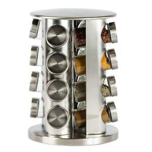 STAINLESS STEEL REVOLVING ROTATING SPICE RACK GLASS 30 JARS CHROME LIDS