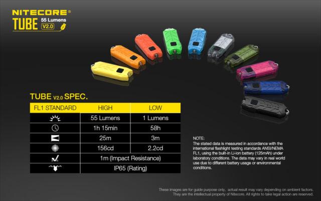 NITECORE Tube V2.0 55 Lumen USB Rechargeable Keychain Flashlight for sale online