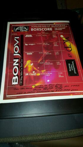 Bon Jovi UK Amusement Business Boxscore Rare Original Promo Poster Ad Framed!