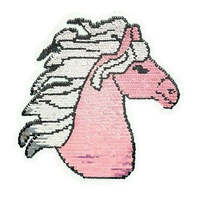 Patch Einhorn Flagge Rechteck Pferd Wendepailletten Aufnäher Applikation Wenden