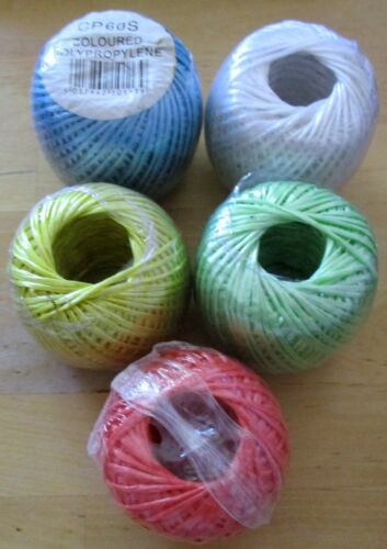 COLOURED CRAFTING CREATIVE POLYPROPYLENE STRING TWINE FLOWERS VEG PLANTS 60M
