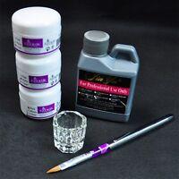 Portable Nail Art Tool Kit Set Crystal Powder Acrylic Liquid Dappen Dish P2