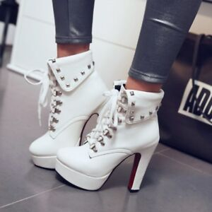 Punk-Rivets-High-Heels-Lace-up-Ladies-Ankle-Boots-Platform-Autumn-Casual-Shoes