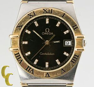 Omega-Constellation-Quartz-Two-Tone-Watch-w-Diamond-Dial-amp-Date-Feature
