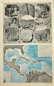 1909 Landkarte West Indies Cuba Jamaika Central Ameria Zucker Gehstock Kingston