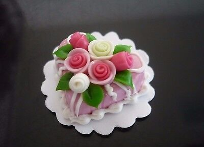 11 Chocolate Heart Cake Rose Top Dollhouse Miniatures Food Bakery Valentine Day