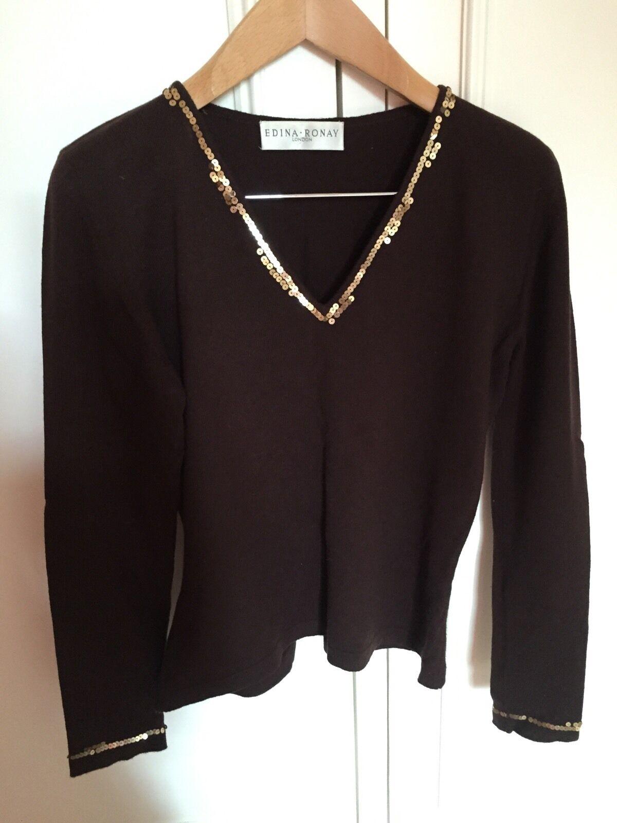 Edina Ronay Embellished Wool Designer Top Size S