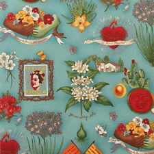 Alexander Henry VIVA FRIDA Mexican Folklorico Frida Kahlo Tattoo Fabric - Blue