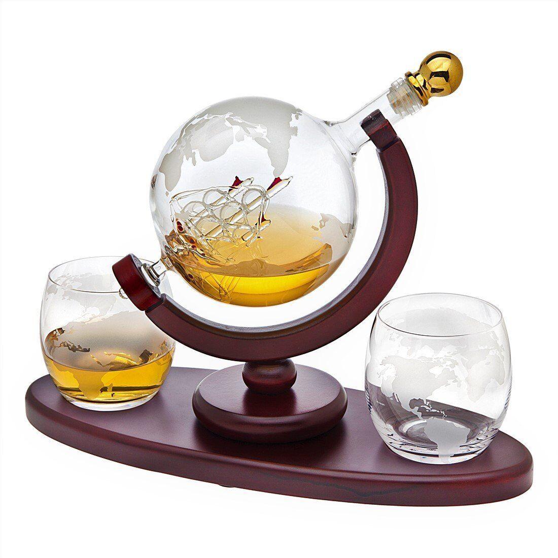 Decantador De Cristal Tipo Globo Terráqueo Set De Whisky Y Bebidas Alcohólicas