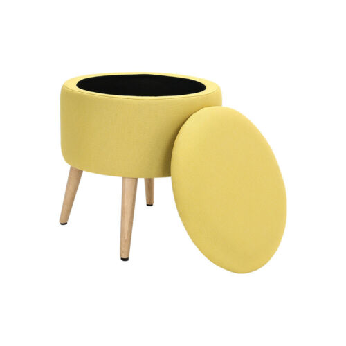 Storage Ottoman Footstool Dressing Table Vanity Stool Padded Seat Wooden Legs