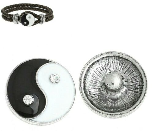 New Noosa Chunks Ginger Style Snap Button Charms Yin Yang Symbol 20mm