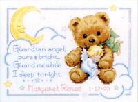 Cross Stitch Kit Dimensions Cuddly Bear & Angel Baby Birth Record 13591