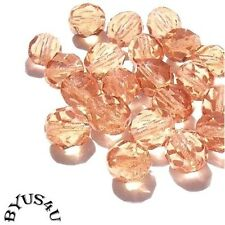 GLASS BEADS CZECH ROUND FACETED 6mm SOFT PEACH 50pc