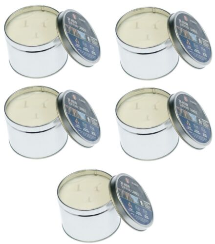 5 Emergency Survival Candle 3 Wick Wilderness Outdoor Heat Tin Camping 180 Hours