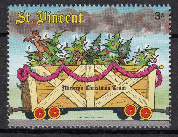 Image De Noel Walt Disney.Timbre Neuf Walt Disney Mickey Le Train De Noel