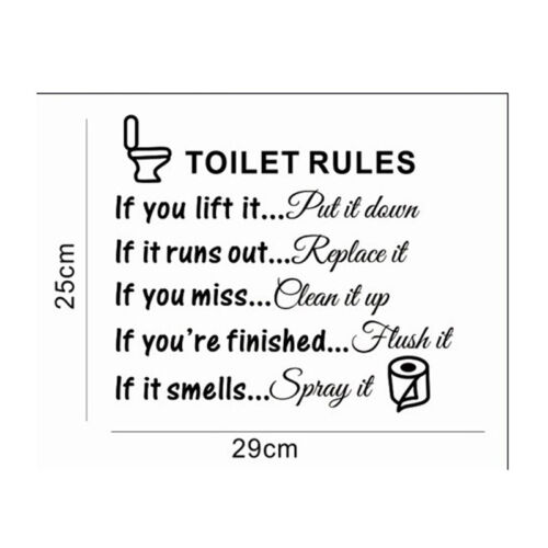Toilet Rules Bathroom Removable Wall Sticker Vinyl Art Decals DIY Home Decor  YF