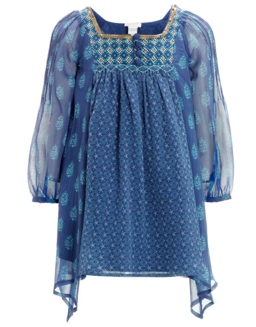 Girls Blue Tunic Carmen Sarita Blouse Dress Monsoon Childrens top 3 - 6 years