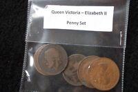 QUEEN VICTORIA - ELIZABETH II ONE PENNY 5 COIN SET