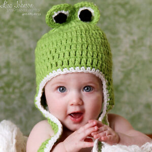 234b279f7a9 Image is loading Melondipity-Green-Crochet-Frog-Animal-Beanie-Baby-Hat-