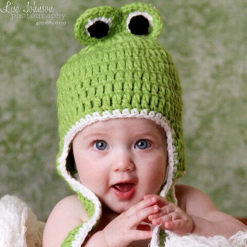 Melondipity Green Crochet Frog Animal Beanie Baby Hat Black Eyes Curly Braids