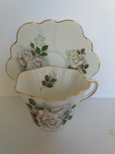 Royal Taunton England Scalloped Tea Cup and Saucer - Pink Tinted White Rose
