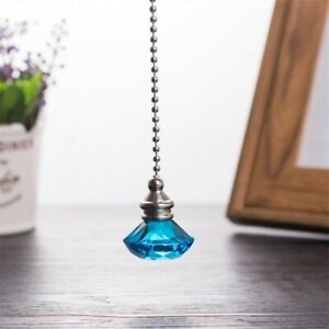 Details About Diamond Shape Light Pull Switch Fan Metal Chain Connect Crystal Pendant Decor S
