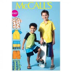 Mcca.. Top /& Shorts Mccalls Childrens fácil patrón de costura 6548 Muchachos Camisa