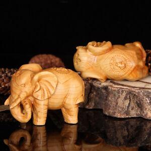 1PC Vintage Hand Carved Teak Wood Elephant Figurines Sculpture Home Ornament